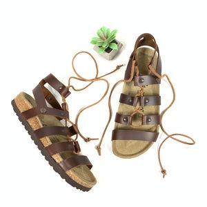 Papillio Birkenstock Cleo Cognac Gladiator Sandals